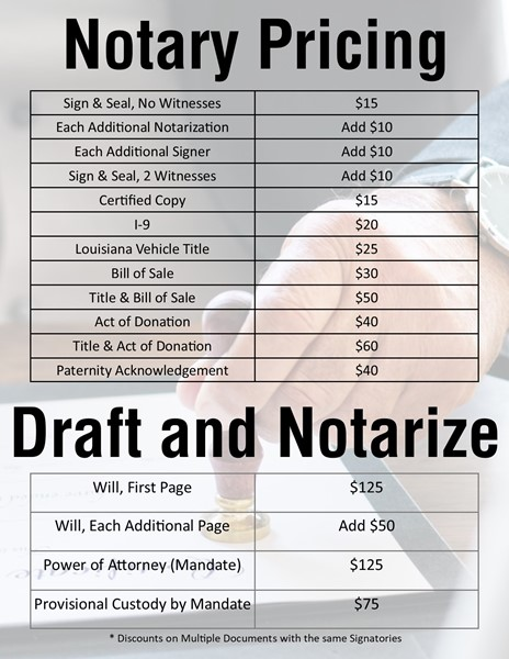 Notary Pricing